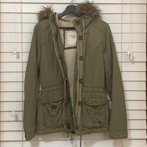 Abercrombie & Fitch Green Jacket w Hood Size Small